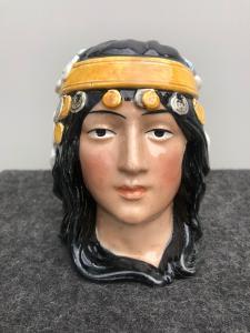Tabatière en terre cuite représentant une tête de femme de liberté, France