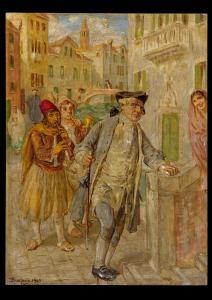 Vittorio Emanuele Bressanin (Musile di Piave 1860 - Venise 1941) - Scène animée à Venise