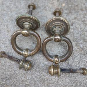 Paire de heurtoirs de porte complets en bronze