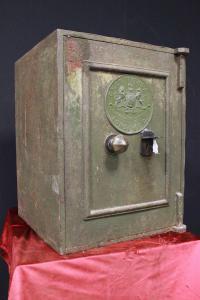 Coffre-fort original anglais à ouverture verte du milieu du XIXe siècle
