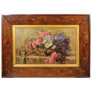 Peinture de roses dans un cadre en bois déco