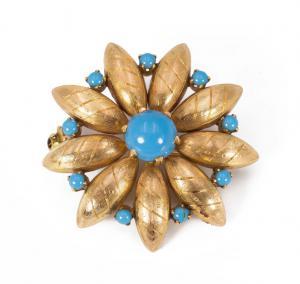 Broche en or 18 carats avec turquoise des années 40