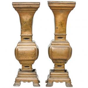 Paire de vases anciens en bronze chinois à encens