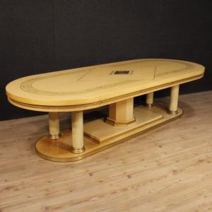 Table de conférence italienne en bois exotique