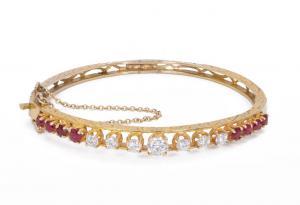 Bracelet vintage en or avec diamants (1,4 ct) et rubis, années 50