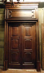 ptci522 - porte en noyer complète avec portail, XVIIIe siècle