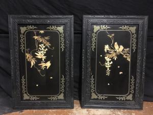 Paire de tableaux avec incrustations d'ivoire et de nacre