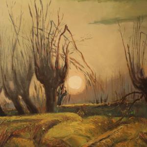 Tableau italien signé paysage de style impressionniste