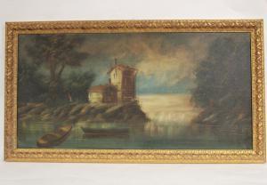 """Peinture à l'huile sur toile """"Seascape"""" de l'auteur Sicuri année 1895"""