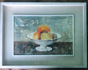 Peinture à l'huile sur toile représentant un vase aux fruits signé Tugnoli.