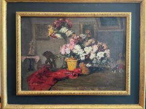Peinture à l'huile de salon avec des fleurs de Biedermaier