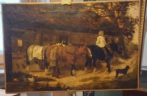 Peinture à l'huile sur toile de William Meadows datée de 1895