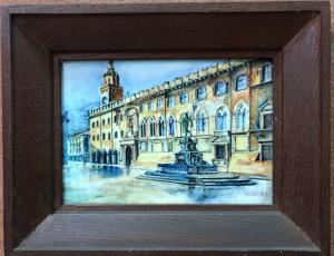 Carreau en majolique avec cadre représentant le bâtiment de l'hôtel de ville situé Piazza Maggiore à Bologne, Firma Maccaferri.