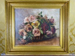 Peinture à l'huile sur toile signée nature morte fleurs 1800/900