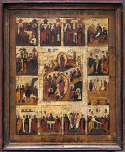 Icône avec des images de la vie du Christ, Russie, XIXe siècle