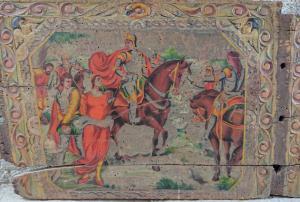 Bel élément de charrette sicilienne fabriqué par l'école Ducato de Bagheria