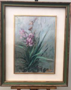 Peinture sur toile avec composition florale Signée.
