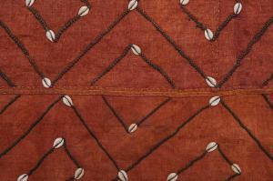 Panneau KUBA africain ancien avec des coquillages