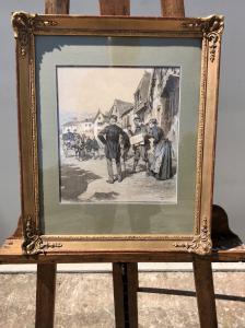 Peinture à la détrempe sur papier avec scène champêtre Ludovico Marchetti (Rome 1853-Paris 1909).