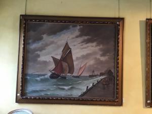 Paire de peintures à l'huile sur toile représentant des marinas