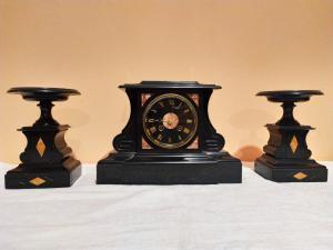 Triptyque en marbre noir de Belgique d'époque Napoléon III