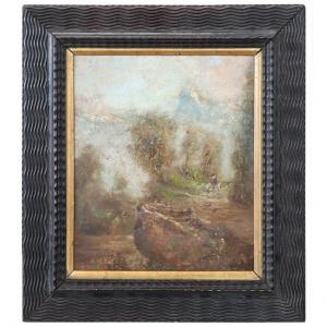 Peinture à l'huile sur carton Luigi Bosio (1896-1959) début 1900 euro 800 traitable