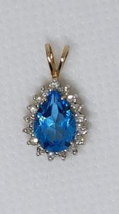 Collier aigue-marine en or jaune 8 carats avec diamants