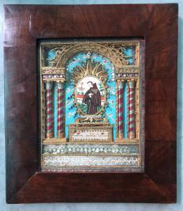 Tableau de reliquaire avec différents saints et figure de saint peinte sur ivoire. France