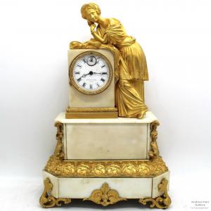 Pendule Antique Louis Philippe en bronze doré et marbre d'époque 800