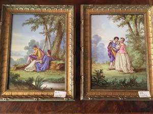 Paire de porcelaine historiée à monture dorée 19ème siècle France