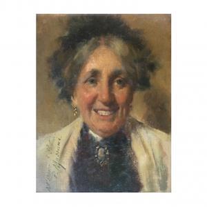 Pompeo Massani (1850-1920), peinture à l'huile sur toile représentant le portrait d'une vieille dame