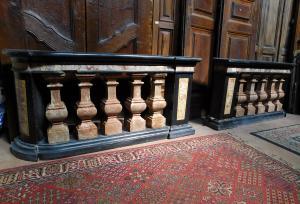 dars400 - paire de balustrades en marbre, cm l 158 xh 78 x p. 35