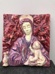 Carrelage en majolique, Vierge à l'Enfant, Mondinari di Castelvecchio