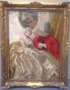 Vittorio Emanuele Bressanin 1860 Musile di Piave - Venise 1941 la cour scène, huile sur panneau 43 x cm.63