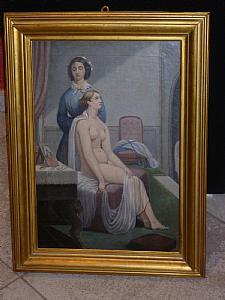 Dame nue avec femme de ménage