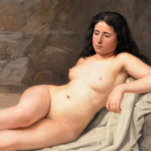 Jeune femme nue sur la plage Eugène Feyen
