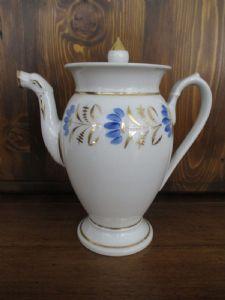 empire Teapot en or avec des décorations florales bleu vintage 800 - parfait!