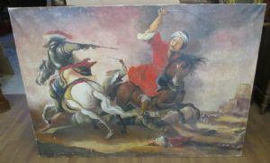 Image grand peint à l'huile sur toile de bataille à cheval - fin 800-140 x 99!