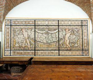 Grand tempera panneau décoratif sur papier Galileo Chini