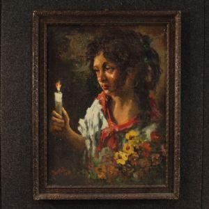 Tableau italien signé et daté portrait de gitane
