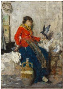 Giacomo Favretto, les pigeons, cue 1882)